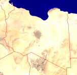Libya Satellite + Borders 800x778