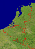 Low Countries Satellite + Borders 431x600
