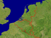 Low Countries Satellite + Borders 640x480