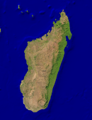 Madagascar Satellite + Borders 912x1200