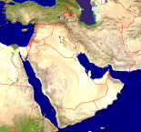 Middle East Satellite + Borders 1000x938