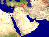 Middle East Satellite + Borders 1600x1200