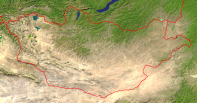 Mongolia Satellite + Borders 1000x523