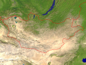 Mongolia Satellite + Borders 1600x1200
