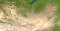 Mongolia Satellite + Borders 4000x2090