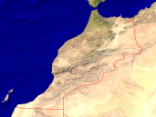 Morocco Satellite + Borders 1600x1200
