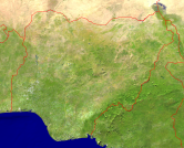 Nigeria Satellite + Borders 1200x972