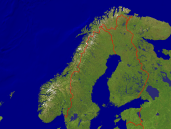 Norway Satellite + Borders 1600x1200