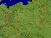 Poland Satellite + Borders 1200x900