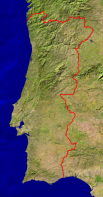 Portugal Satellite + Borders 315x600