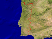 Portugal Satellite + Borders 800x600