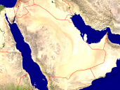 Saudi Arabia Satellite + Borders 1600x1200