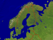 Scandinavia Satellite + Borders 1600x1200