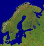 Scandinavia Satellite + Borders 765x800