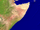 Somalia Satellite + Borders 1600x1200