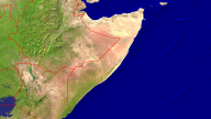 Somalia Satellite + Borders 1920x1080