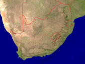 South Africa Satellite + Borders 1600x1200
