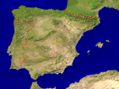 Spain Satellite + Borders 1600x1200