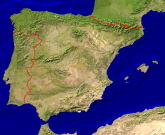 Spain Satellite + Borders 800x655