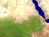 Sudan Satellite + Borders 1600x1200