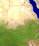 Sudan Satellite + Borders 678x800