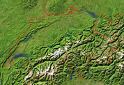 Switzerland Satellite + Borders 600x412