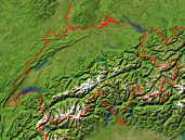 Switzerland Satellite + Borders 640x480