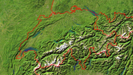 Switzerland Satellite + Borders 800x450