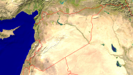 Syria Satellite + Borders 1280x720
