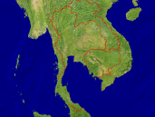 Thailand Satellite + Borders 1600x1200
