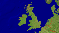 UK + Ireland Satellite + Borders 1600x900