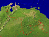 Venezuela Satellite + Borders 1600x1200